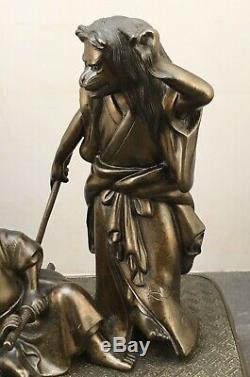 1Fine Japanese Meiji Bronze Okimono of Samurai & Kitsune