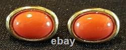 9 carat solid gold & orange coral vintage Art Deco antique pair of earrings
