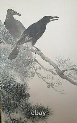 A Fine Large Meiji Period Sumi-e Ink Painting On Silk Of 2 Crows. Signed