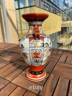 A Fine and Large Japanese Meiji (1868-1912) Kutani Centerpiece Porcelain Vase