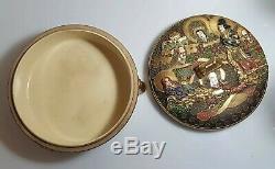 A Large Fine Meiji Period Satsuma Kogo. (Incense box) Signed Kinkozan