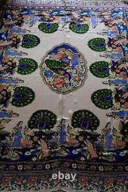 ANTIQUE Fine Rare CHINESE/ CHINA /JAPANESE SILK PEACOCK PRINT TAPESTRY BED SHEET
