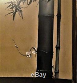 ANTIQUE JAPANESE FINE ART SCROLL / SCREEN HANDPAINTED BAMBOO BLACK INK on SILK