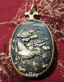 Antique 1880s Victorian Shakudo Locket Pendant Chicken Rooster Japanese RARE