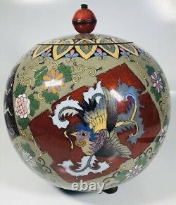 Antique 19th Century Fine Japanese Large Cloisonne Enamel Jar with Lid 9