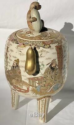 Antique 19th c. Japanese Meiji Period Finely Painted Satsuma Koro withMonkey Finial