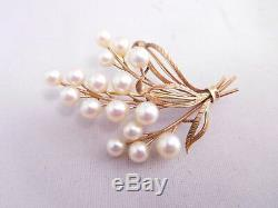 Antique Asian Japanese Export 14k Solid Yellow Gold Pearl Pin Brooch