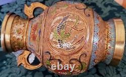 Antique Champleve Japanese Cloisonne' Dual Phoenix Birds Rising+ Vase Fine