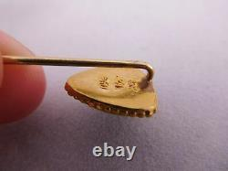 Antique Chinese Japanese Export 24k Yellow Gold `shield Jade Stone Hat Stick Pin