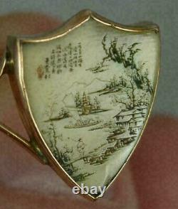 Antique Chinese Japanese Gold Ring Fine Carved Miniature Art Painting Asian