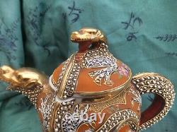 Antique Dai Nippon Dragon Teapot Kutani Fine Porcelain Gold & 5 colors 1920, s