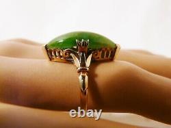 Antique Estate Japanese 18k Yellow Gold 6 Carat Untreated Jade Ring Size 4.5