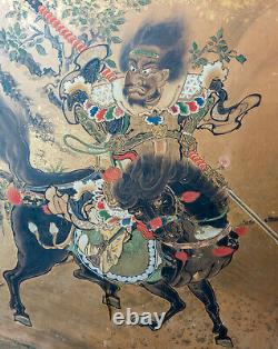 Antique Fine Chinese Japanese Painted Folding Floor Screen Warriors As Is