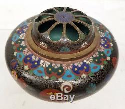 Antique Fine Japanese Cloisonne Incense Burner Floral Meiji Alms Bowl