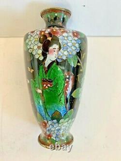 Antique Fine Japanese Ginbari Cloisonne Geisha Vase