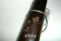 Antique Fine Japanese Kiseru Pipe Decorated Ebony Case -meiji Period 19c