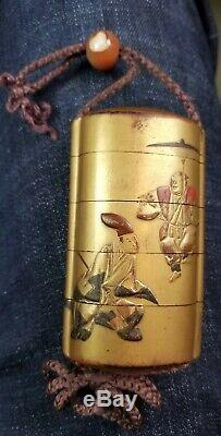 Antique Fine Japanese Lacquer Inro With Agate Ojime