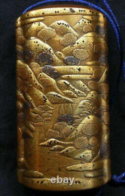 Antique Fine Japanese Meiji Gold Five Case Inro Signed