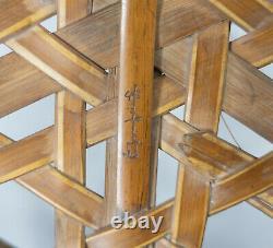 Antique Fine Japanese Woven Bamboo Reed Ikebana Flower Basket Signed