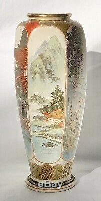 Antique Finely Detailed Japanese Meiji Period Satsuma Hexagonal Tall Vase