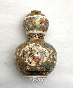 Antique Finely Detailed Japanese Meiji Satsuma Petite Double Gourd Vase 2 1/4h