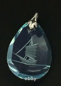 Antique Glass Pendant Silver Japanese Reverse Intaglio Extraordinarily Splendid