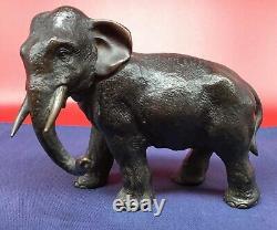 Antique JAPANESE Bronze Elephant SIGNED sculpture statue Japan Meiji fine art