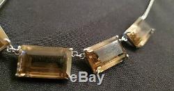 Antique Japanese Art Deco sterling silver smokey quartz necklace