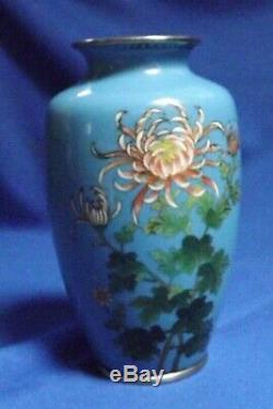 Antique Japanese Cloisonne 6 Chrysanthemums Vase Meiji Silver Wires Fine Shape