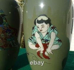 Antique Japanese Cloisonné Vases Early Meiji Period. A Fine Pair. 10 Tall Each