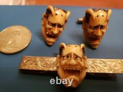 Antique Japanese Demon Hannya Cufflinks Cuff Links & Tie Clip Engraved Silver