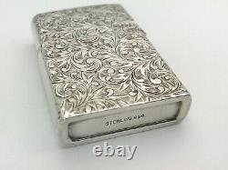 Antique Japanese Fine 950 Sterling Silver Cigarette Case Holder & Lighter Lot