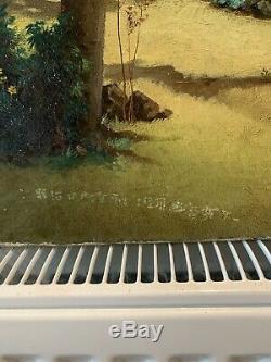 Antique Japanese Fine Art Large Original Old Master 18th Century Oil Painting