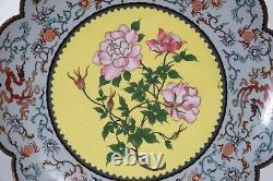 Antique Japanese Fine Cloisonne Lobed Rim Plate Meiji Period Dragon & Peony 11.7