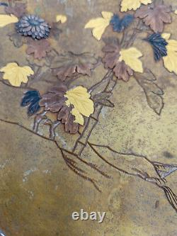 Antique Japanese Fine Pair of Mixed Metal Bronze Plates Trays Grasshopper Floral