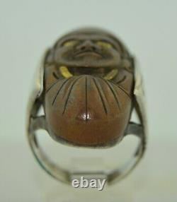 Antique Japanese Kashira Sword Mask Man God Face Ring