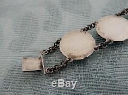 Antique Japanese Kotobuki 950 Fine Silver Carved Ladies Deco panel bracelet