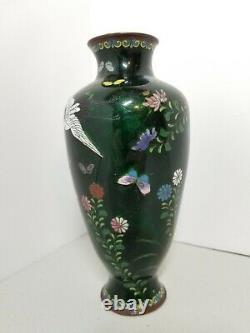 Antique Japanese Meiji Period Fine Cloisonne Stork Birds Floral Green Foil Vase