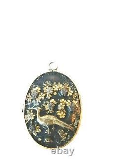 Antique Japanese Meiji Period SHAKUDO Mixed Metal Double Sided Locket Pheasants