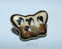 Antique Japanese Meiji Shimazu Satsuma Butterfly Brooch Geisha Women Signed Pin