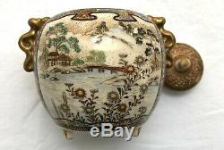 Antique Japanese Petite Meiji Period Satsuma Finely Painted Round Jar withHandles