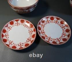 Antique Japanese Porcelain Lidded Rice Bowls Fine Handpainted Scenery Gold Gilt