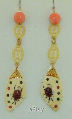 Antique Japanese SHIBAYAMA Ladybug Ladybird Coral & 9K earrings