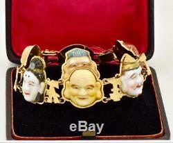Antique Japanese Toshikane 7 lucky Gods 18k gold, porcelain bracelet&ring set. Box
