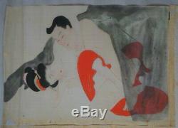 Antique Japanese fine Shunga erotic art silk painting 1880s Japan original