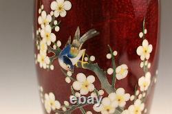 Antique Japanese fine red cloisonne vase, floral and bird decoration