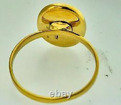 Antique JapaneseFuji MountainNiello Damascene Komai Style Inlaid 14K Gold Ring