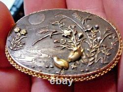 Antique Meiji Japanese Shakudo &14K GOLD PIN BROOCH 18 GRAMS