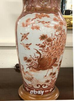 Antique Pair fine 19th c Japanese Satsuma porcelain lamps lighting Salmon color