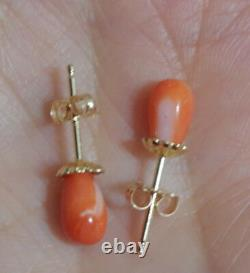 Antique Quality Rare Old Red Salmon Momo Japanese 7 MM Coral Stud Earrings Aa